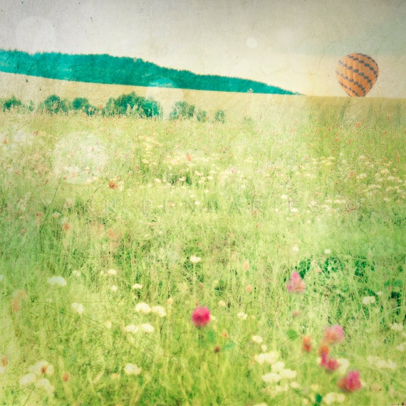 Hot Air Balloon,floral wall decor,spring print,flower field,nature print,air balloon print,landscape photograph,air balloon,balloon print