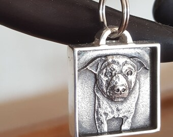 Pet Portrait Keychain Custom Dog Portrait Picture Sterling Silver Pendant