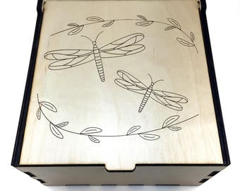 Dragonflies Essential Oil Box, 25 Slot, Aromatherapy Storage Box, Essential Oil Case, Aromatherapy Oil Organizer, Essential Oil Display