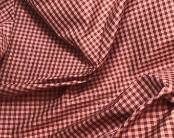 Silk Taffeta Fabric - Burgundy & Pink Gingham Check - fat 1/4