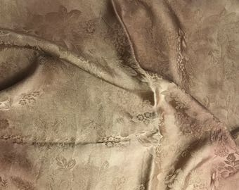 """Hand Dyed Golden Brown FLORAL - Silk Jacquard Fabric - 9""""x22"""" remnant"""