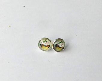 Ohrsteck Cabochon Schmetterlinge silber