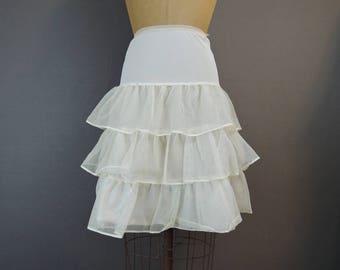 Vintage Nylon Mesh Petticoat Crinoline Slip, 24 to 28 inch waist, 1950s 1960s