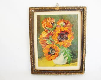 vintage orange poppy miniature art framed print