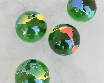 4 World Earth Glass Marbles Continents  23mm Atlas Travel  Colored Clear Transparent Green