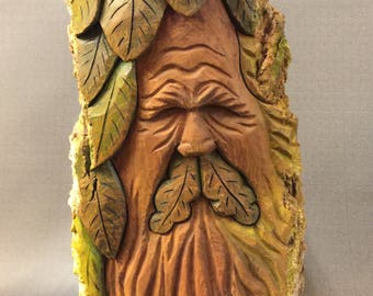 HAND CARVED original Green Man/Wood Spirit with leaves from 100 year old Cottonwood Bark