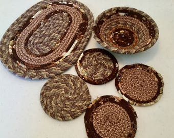 4 Coiled Fabric Brown Coasters, 7 Inch Bowl and 12 Inch Mat Set, Candle Mat, Trivet,  Mug Rug - browns - Home and Living, Kitchen,  handmade
