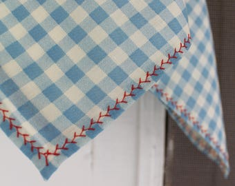 Vintage Gingham Scarf With Cherry Red Stitching