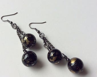 On Sale Black and gold speckled vintage lucite drop earrings.