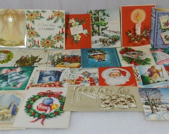 Vintage Christmas Cards Holiday Greetings from the 1940s 1950s Group of 26 - Angels, Candles, Churches, Trees, Bells, Lights, Poinsettias,