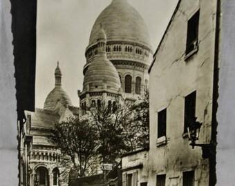 """Postcard Paris France RPPC Street Scene B&W Signed """"Guy"""" - Paris and Its Wonders - Le Sacre Coeur de Montmartre"""