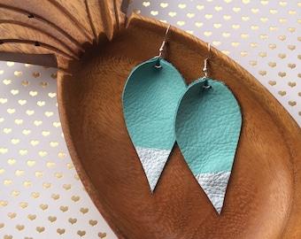 Leather leaf drop earrings
