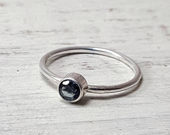 London Blue Topaz Ring Dainty Topaz Stacking Ring 4mm London Blue Topaz Sterling Silver Ring