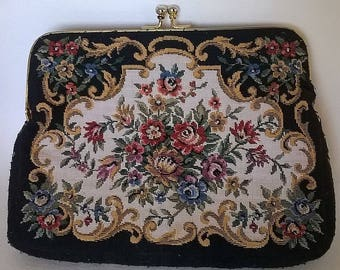 Vintage Needlepoint Floral Ladies' Handbag