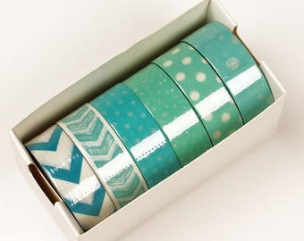 Summer Sale 6 piece packs 10 Yards of Colorful Mint green Pattern Washi Tape Assortment