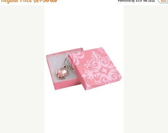 New Years Sale 50 Pack of 3.5X3.5X1 Inch Size High Quality Pink Damask Cotton Filled Jewelry Presentation Boxes