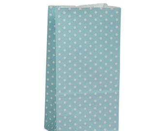 New Years Sale 25 pack blue and white Polka Dot patterned SOS Style 3.65 X 2.25 X 7 Inch Bags
