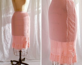 Lacey | Vintage Half Slip 1960s Lingerie Pink Nylon Tricot Petticoat Side Lace Panel and Hem Pink Half Slip Lace Slip Size S