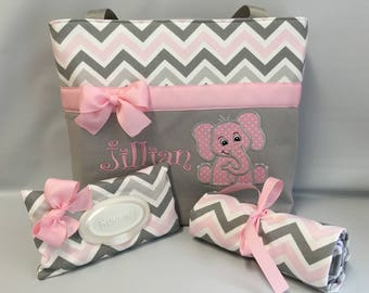 Elephant ...CHEVRON Zoom  in PINK and Gray ... Diaper Bag SET ... Monogrammed  FReE