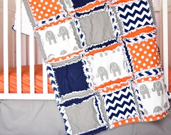 Elephant Crib Set - Orange / Navy / Grey Bedding - Baby Bedding Sets- Jungle Nursery- Safari Nursery Decor- Rag Quilt, Sheet, Skirt, Bumper