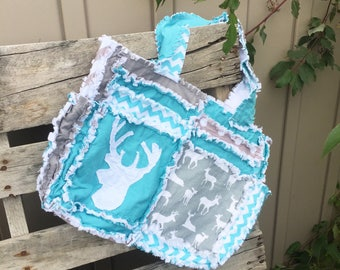 Woodland Purse - Deer Diaper Bag Rag Purse - Gray Diaper Bag - Chevron Diaper Bag - Turquoise Purse Boy Diaper Bag - Baby Boy Diaper Bag
