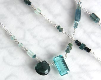 Blue Tourmaline Necklace, Tourmaline Necklace in Solid Sterling - FABULOUS