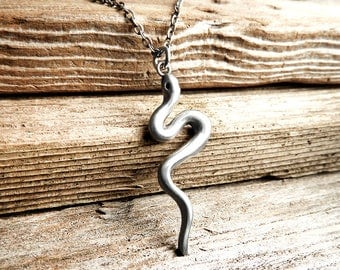 Sterling silver snake necklace, serpent, snake jewelry, gift for her