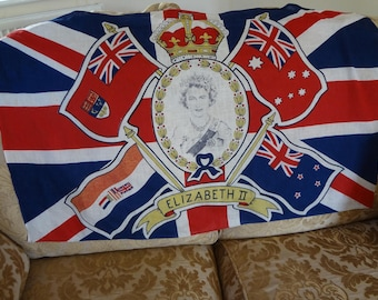 Coronation Flag Banner Queen Elizabeth II Commemorative All Cotton 1953 - EnglishPreserves