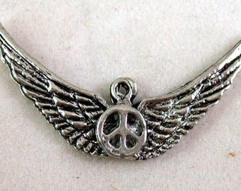 5 Silvery Wings of Peace Charms (or Pendants)