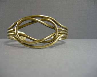 vintage man's brass cuff bracelet, large brass cuff, thick brass wire intertwined for man or woman, unisex vintage handmade, artisan