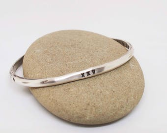 Ladies Silver Cuff, Rustic Silver Bracelet, His and Hers Cuff, Silver Anniversary Gift, Roman Numeral Bracelet, XXV