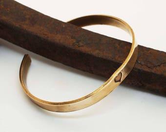 Bronze Anniversary Bracelet, Bronze Cuff With Heart, Unisex Cuff, 8 Year Anniversary Gift, His and Her's Bronze Bracelet