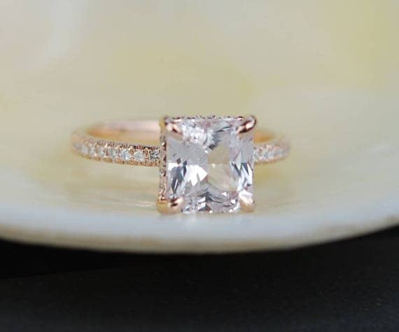 White Sapphire Engagement Ring Radiant cut ring  square 14k rose gold diamond ring 2.96ct sapphire ring by Eidelprecious