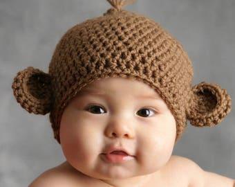 Baby Monkey Hat, Newborn Animal Hat, Infant Monkey Beanie, Coming Home Hat, Baby Shower Gift, Unisex Baby Hat, Newborn Photo Shoot