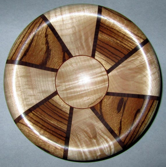 "Turned Wood Segmented Bowl – ""Simitree"" – Segmented Design with Zebrawood and Curly Maple 40-17"