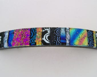 Medium Dichroic glass hair clip.
