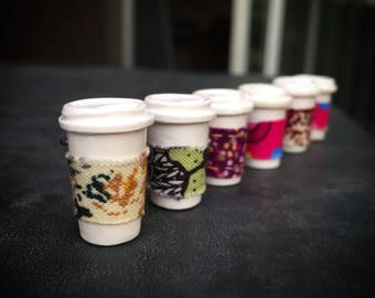 Magic To Go: Handsculpted To Go Coffee/Tea Cups with Removeable Sleeves for Knitter & Crocheters