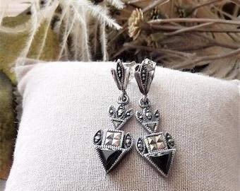 ChristmasInJulySALE..... Vintage Sterling Silver Marcasite Onyx Art Deco Style Post Drop Earrings