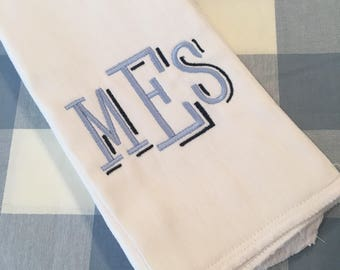 Monogrammed Burp Cloth Embroidered Custom Baby