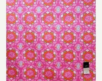 ON SALE Dena Designs LIDF001 Sunshine Circle Pink Linen Fabric 1 Yd