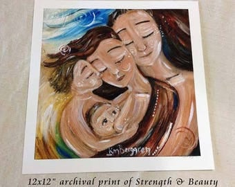 Strength & Beauty - father and mother nursing - 2 children, Archival signed motherhood print