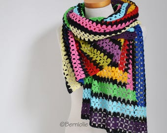 Crochet shawl, rainbow, stripes, Q532