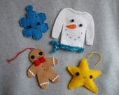 Embroidered Felt Christmas Ornaments OOAK Hand Stitched Ugly Christmas Snowman Star Snowflake Gingerbread Man Tacky Felt Ornaments Snow