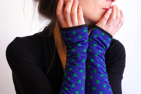 Long mittens, blue with green polka dots lined Lycra cotton jersey