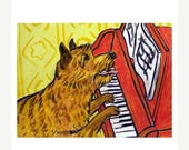 20% off storewide Norwich Terrier Playing Piano Dog Art Print