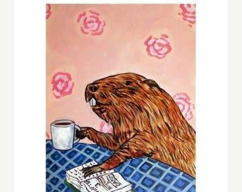20 % off storewide print, beaver, coffee, beaver art, coffee art, beaver print, coffee print, modern animal art, folk art