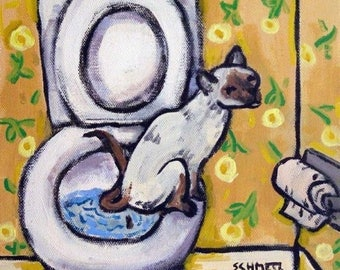 20 % off storewide Siamese in the bathroom Cat Art Tile Coaster Gift
