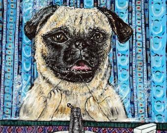 20% off storewide Pug  - tile - ceramic coaster - gift for dentist - flossing _ modern dog art - folk art - pug art