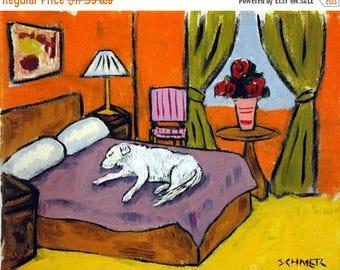 20% off storewide Great Pyrenees Sleeping Bedroom picture Dog Art Print giclee gift JSCHMETZ modern abstract folk pop art AMERICAN ART gift