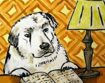 20% off storewide Great Pyrenees Reading Dog Art Tile Coaster